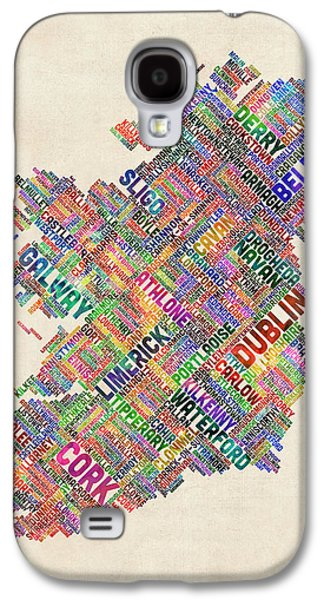 Ireland Eire City Text Map Derry Version Galaxy S4 Case by Michael Tompsett