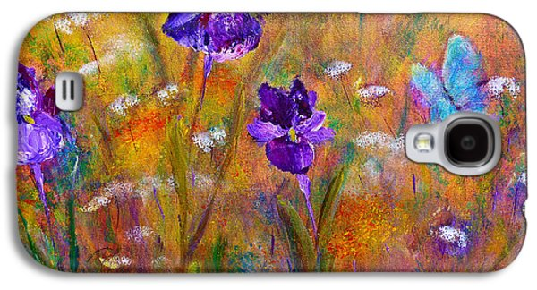 Galaxy S4 Case featuring the painting Iris Wildflowers And Butterfly by Claire Bull