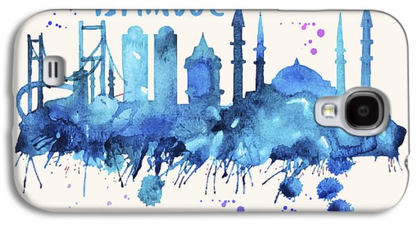Istanbul Skyline Watercolor Poster - Cityscape Painting Artwork Galaxy S4 Case