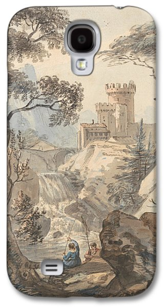 Italianate Landscape With Castle, Cascade And Anglers Galaxy S4 Case by Paul Sandby