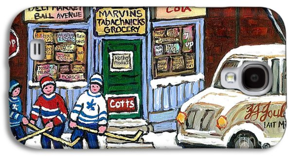J J Joubert Vintage Milk Truck At Marvin's Grocery Montreal Memories Street Hockey Best Hockey Art Galaxy S4 Case
