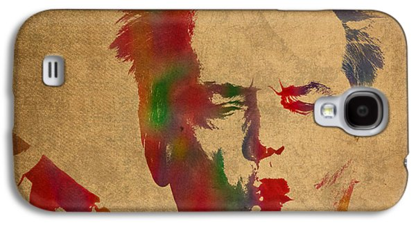 Jack Nicholson Galaxy S4 Case - Jack Nicholson Smoking A Cigar Blowing Smoke Ring Watercolor Portrait On Old Canvas by Design Turnpike