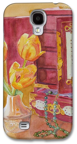 Floral Still Life Paintings Galaxy S4 Cases - Jade and Tulips II Galaxy S4 Case by Jenny Armitage