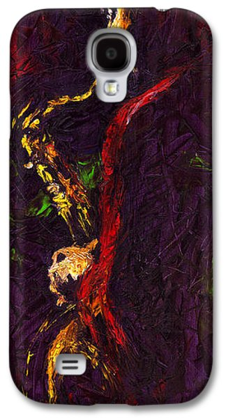 Jazz Galaxy S4 Cases - Jazz Red Saxophonist Galaxy S4 Case by Yuriy  Shevchuk