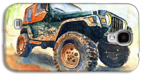 Car Galaxy S4 Case - Jeep Wrangler Watercolor by Carlin Blahnik CarlinArtWatercolor