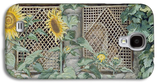 Jesus Looking Through A Lattice With Sunflowers Galaxy S4 Case by Tissot