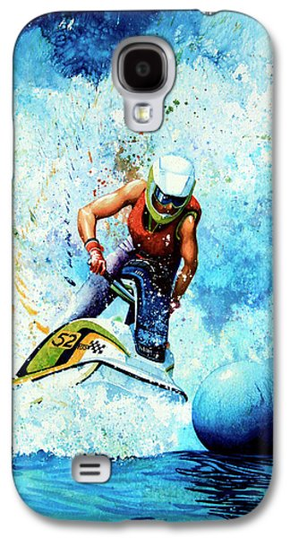 Skiing Posters Paintings Galaxy S4 Cases - Jet Blue Galaxy S4 Case by Hanne Lore Koehler