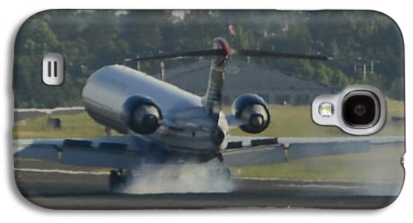 Jet Plane Landing On Runway With Tires Smoking Galaxy S4 Case by David Oppenheimer