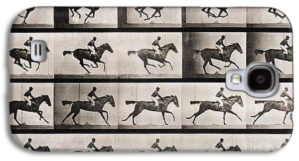 Jockey On A Galloping Horse Galaxy S4 Case by Eadweard Muybridge