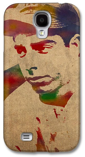 Joe Dimaggio New York Yankees Baseball Player Legend Sports Star Watercolor Portrait On Worn Canvas Galaxy S4 Case
