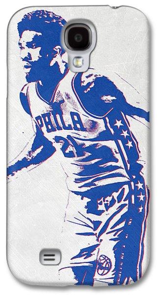 Joel Embiid Philadelphia Sixers Pixel Art Galaxy S4 Case by Joe Hamilton