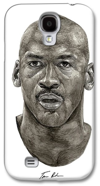 Athletes Paintings Galaxy S4 Cases - Jordan Galaxy S4 Case by Tamir Barkan