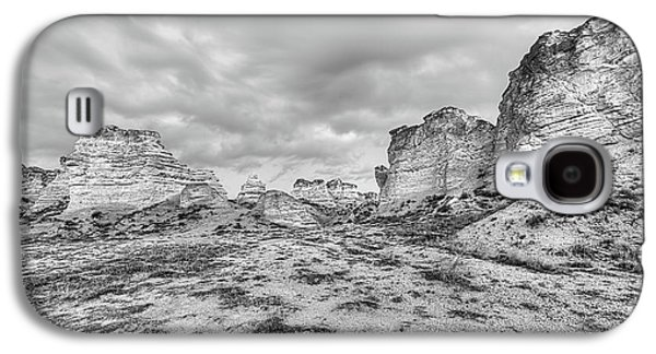 Galaxy S4 Case featuring the photograph Kansas Badlands Black And White by JC Findley