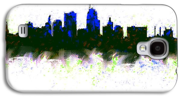 Kansas City Skyline Blue  Galaxy S4 Case by Enki Art