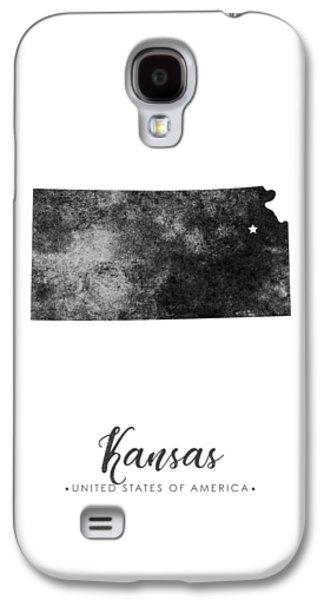 Kansas State Map Art - Grunge Silhouette Galaxy S4 Case