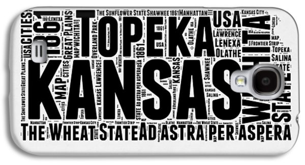 Kansas Word Cloud Map 2 Galaxy S4 Case by Naxart Studio