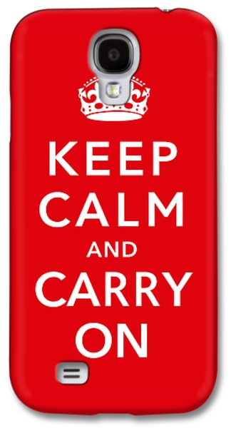 Keep Calm And Carry On Galaxy S4 Case by War Is Hell Store