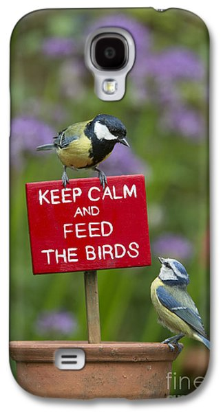 Titmouse Galaxy S4 Case - Keep Calm And Feed The Birds by Tim Gainey