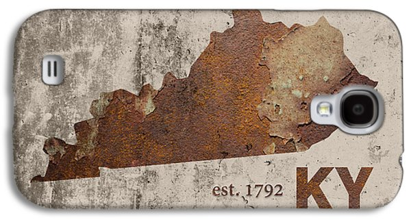 Kentucky State Map Industrial Rusted Metal On Cement Wall With Founding Date Series 002 Galaxy S4 Case by Design Turnpike