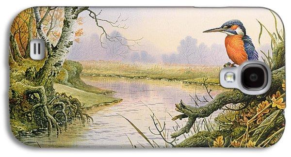 Kingfisher Galaxy S4 Case - Kingfisher  Autumn River Scene by Carl Donner