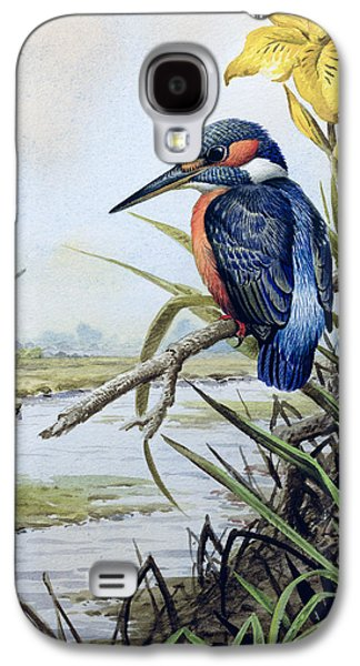 Kingfisher With Flag Iris And Windmill Galaxy S4 Case by Carl Donner