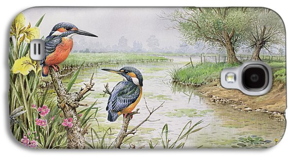 Kingfisher Galaxy S4 Case - Kingfishers On The Riverbank by Carl Donner