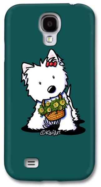 Kiniart Flower Basket Westie Galaxy S4 Case by Kim Niles