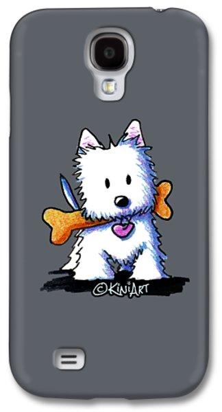 Kiniart Westie With Bone Galaxy S4 Case by Kim Niles