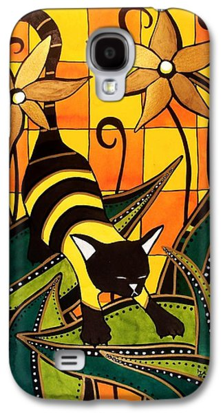 Galaxy S4 Case featuring the painting Kitty Bee - Cat Art By Dora Hathazi Mendes by Dora Hathazi Mendes