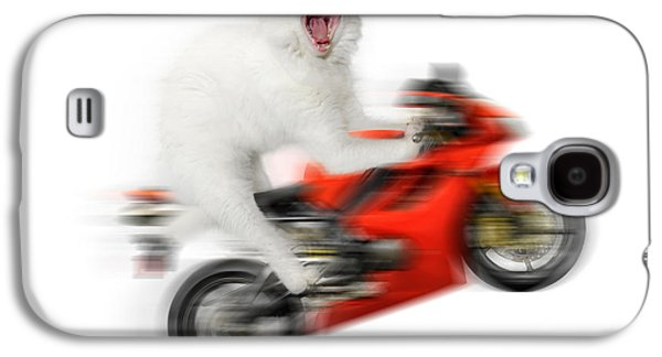 Kitty On A Motorcycle Doing A Wheelie Galaxy S4 Case by Oleksiy Maksymenko