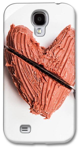 Knife Cutting Heart Shape Chocolate On Plate Galaxy S4 Case by Jorgo Photography - Wall Art Gallery