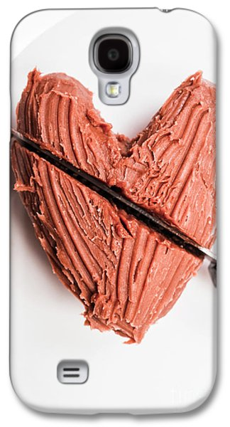 Knife Cutting Heart Shape Chocolate On Plate Galaxy S4 Case