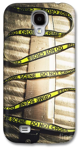 Knife With Crime Scene Ribbon On Metal Surface Galaxy S4 Case