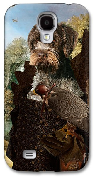 Korthals Pointing Griffon Art Canvas Print - The Hunters And Lady Falconer Galaxy S4 Case
