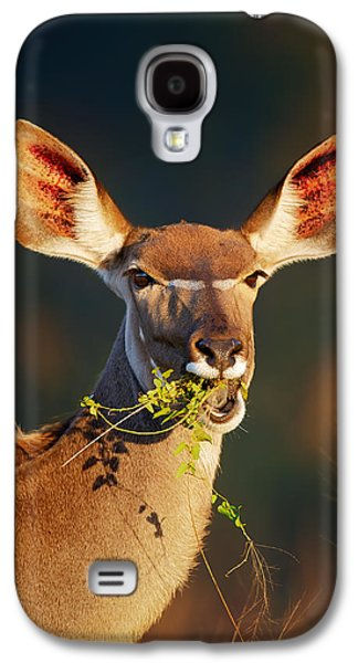 Kudu Portrait Eating Green Leaves Galaxy S4 Case