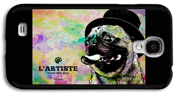 L Artiste Pug Galaxy S4 Case by Edward Fielding