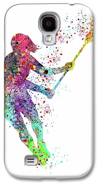Lacrosse Girl Player Sports Art Print Watercolor Print Girl's Lacrosse Illustration Lacrosse Art Pos Galaxy S4 Case by Svetla Tancheva