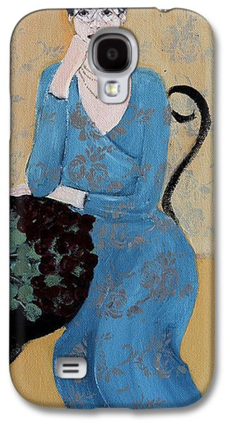 Lady In Blue Seated Galaxy S4 Case