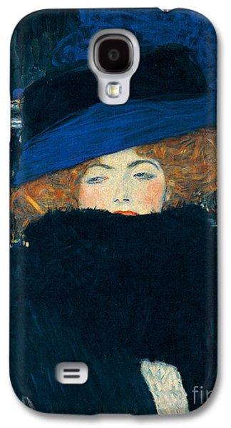 Lady With A Hat And A Feather Boa Galaxy S4 Case by Gustav Klimt