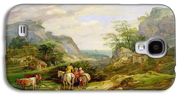 Landscape With Figures And Cattle Galaxy S4 Case by James Leakey