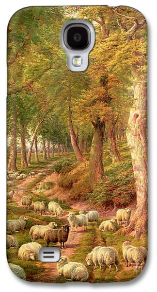 Farm Galaxy S4 Cases - Landscape with Sheep Galaxy S4 Case by Charles Joseph