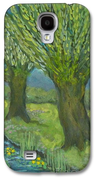 Landscape With Willows And Cowslips In Bloom Galaxy S4 Case by Anna Folkartanna Maciejewska-Dyba