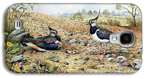Lapwing Family With Goldfinches Galaxy S4 Case by Carl Donner