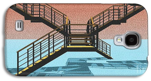 Large Stair 38 On Cyan And Strange Red Background Abstract Arhitecture Galaxy S4 Case by Pablo Franchi