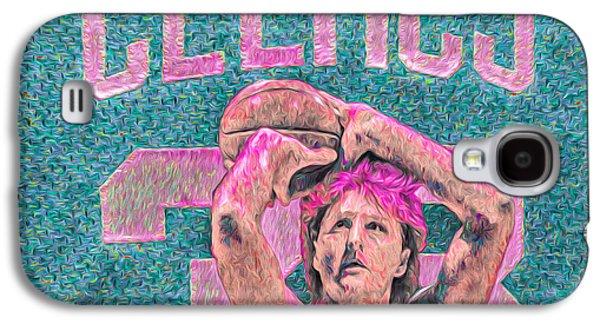 Larry Bird Boston Celtics Digital Painting Pink Galaxy S4 Case by David Haskett