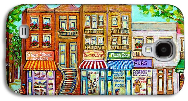Laurier Street Circa 1960 Montreal Memories Vintage Store Fronts Apartments Family Life Canadian Art Galaxy S4 Case by Carole Spandau