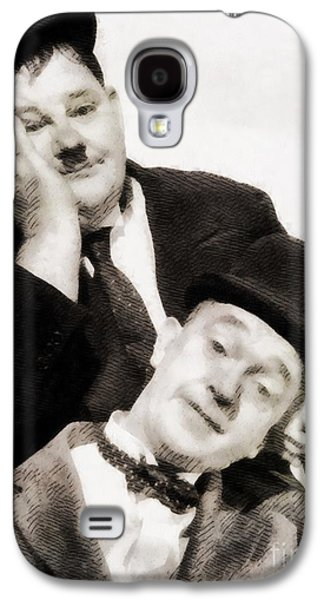 Laurel And Hardy, Vintage Comedians Galaxy S4 Case by John Springfield