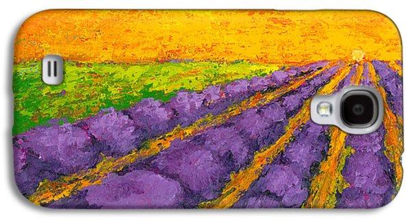 Lavender Field A Modern Impressionistic Artwork In Palette Knife Galaxy S4 Case