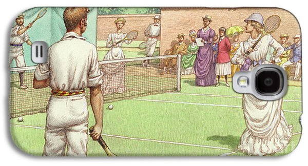 Lawn Tennis Being Played In The Victorian Age Galaxy S4 Case by Pat Nicolle