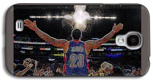 Lebron James Chalk Toss Basketball Art Landscape Painting Galaxy S4 Case by Andres Ramos